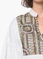 Network Desenli Bluz Beyaz